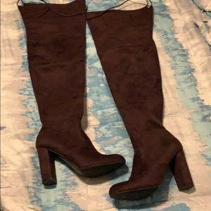 Burgundy OTK boots wide calf